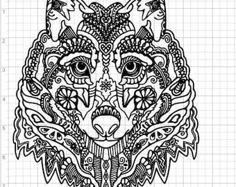 Mandala Wolf Head SVG EPS DXF Studio3 Cut Files
