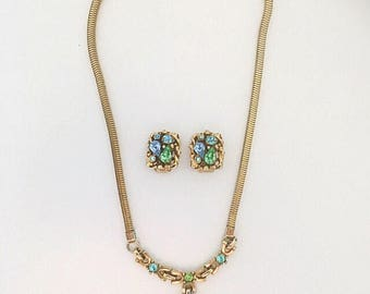 Barclay 1950's Jewels of India Pastel Rhinestone Necklace & Earrings