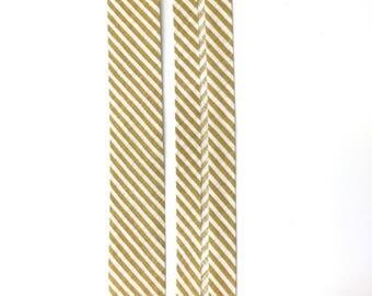5 m polycotton bias striped beige and white 20mm