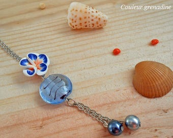Blue tiare flower murano glass necklace