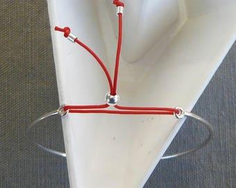 "Bracelet half silver simple band ""Minimalist"" Red"