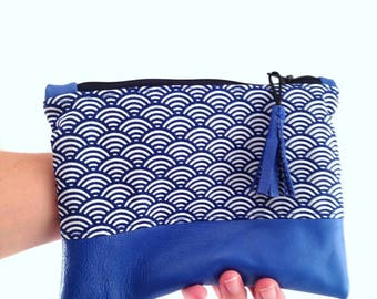 Leather clutch blue waves