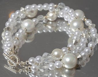 Tripple pearl bracelet, Crystal and silver