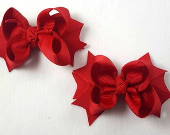 Red Mini Hair Bows-Set of 2/Hair Accessories/Little Girl Hair Bow/Toddler Hair Bow/Pig Tail Bows /Accessory/Red Hair Bow/Stack Hair Bow