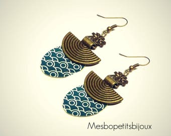 Oval earrings, Japanese wave