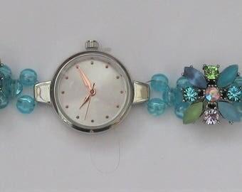WA58 – Green and blue floral motif bracelet watch,