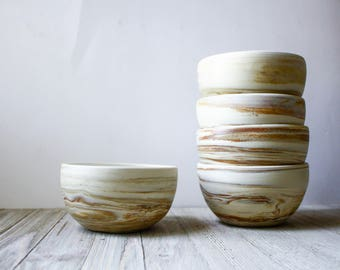 Cream and Brown Red Marbled Bowls- handmade pottery