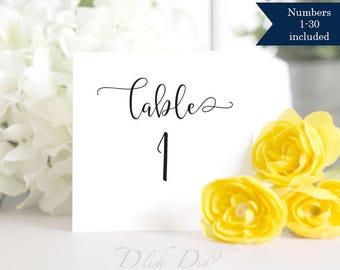 Tented 1-30 Wedding table numbers,printable wedding table numbers,folded table numbers,double sided wedding table numbers printable