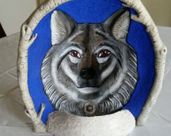 vintage wolf nightlight hand painted by colleen erbes of windom mn - grey timber wolves home lighting night light - patio den deck cabin art