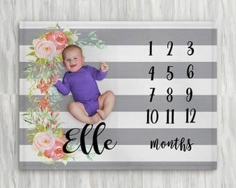 Baby month blanket etsy baby month milestone blanket striped grey floral personalized baby blanket track growth and age negle Gallery