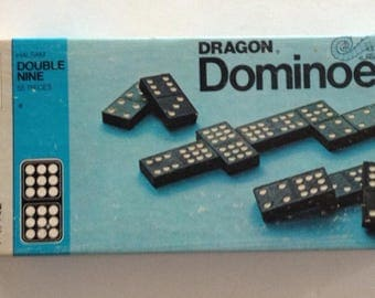 Vintage 1970 DOUBLE NINE DOMINOES by Milton Bradley