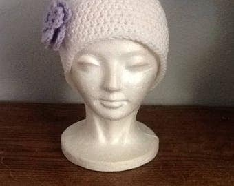 White Winter hat with flower