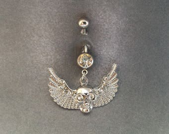 belly button ring Wings Skull