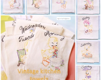 Vintage Hand Embroidered Kitchen Towels , 7 Days of The Week , Yellow Ducks , Shabby Chic , Country Kitchen , Vintage Kitchen