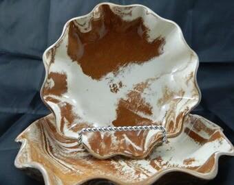 Handmade Ceramic Nesting Candy, Serving, Nick/Nack dishes.  Set of 2