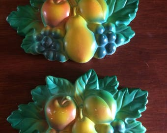 Vintage Chalk Fruit, Wall Decor, Kitchen and Dining, Home and Living, Chalk Fruit.Two piece set,1969 by Miller Studio INC.