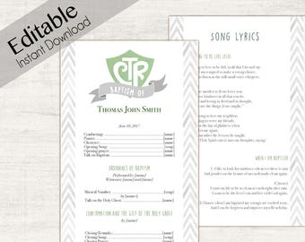 Baptism Program, Editable PDF,  LDS Printable Digital Handout boy Baptism, Green, Grey, watercolor, Baptism Template