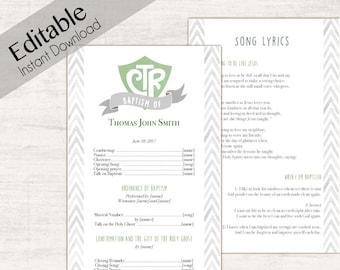 Baptism Program, Editable PDF,  LDS Printable Digital Handout boy Baptism, Green, Grey, watercolor, Baptism Template