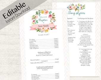 Baptism Program, Editable PDF, Printable Digital Handout Girl Baptism, flowers watercolor, Girl Baptism, Baptism Template