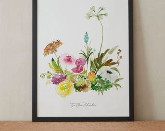 Colorful Ranunculus Tulip Peony Rose Watercolor Painting, Peony Flowers, Printable Art, Original art, Floral Wall Art, Instant Download