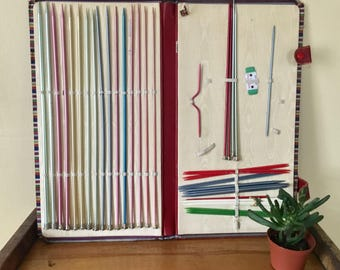 Vintage Set of Susan Bates Kitting Needles With Striped Case Accessories Instant Collection