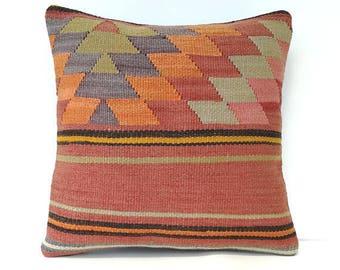 Vintage kilim pillow 40x40 cm / 16x16 inch