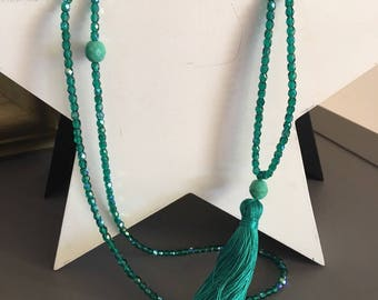 matching tassel and glass Emerald beads necklace