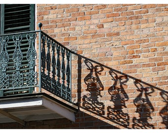 New Orleans photography, French Quarter balcony, lace iron works, travel photography, Louisiana wall art, NOLA, wrought iron work, shadows