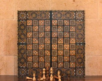 Wooden chess set /  backgammon set / chess board / wooden chess board /  Mosaic / Marquetry / Shipping are going to be after 25 NOV