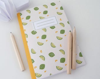 A6 notebook illustrated with limes