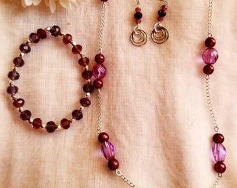 Beautiful purple tinted jewelry set