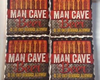 Man Cave Beer Coaster Set