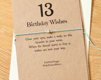 13th Birthday Wish, Tie on Bracelet, Girls Bracelet, 13, Friendship Bracelet, Wish Bracelet, Birthday Wishes, Make a Wish Bracelet, Teenager