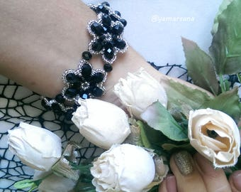 Black flowers bracelet Crystal beads bracelet Jewelry Beadwork Seed beads Gift Accessories Womens bracelet Elegant Bracelet