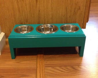 Elevated feeder,Raised 3 Bowls Pet Feeder,1 (2cup)and 2(1/2pt) Handmade Wooden For Dogs and Cat,Feeder Stand
