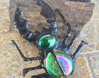 Stag Beetle Bug - Green Glass Sculpture