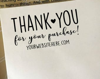 Thank You For Your Purchase Stamp, Etsy Shop Stamp with Website Address, Etsy Sellers Stamp, Personalized Business Stamp, Wooden Stamp