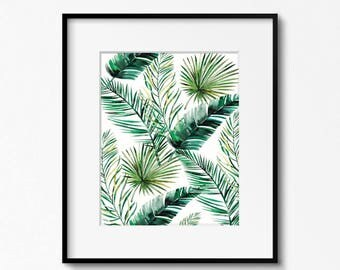 Leaf Printable, Tropical Wall Art, Tropical Decor, Botanical Print, Leaf Print, Green Leaf Decor, Leaf Photo, Tropical Photo, Watercolour