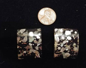 "AMAZING Square ""Confetti"" Lucite Earrings - Clip"