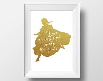 Wall Art Gold Foil Digital Princess Anna Print,Frozen Disney Quote Print,Printable Foil Disney,Glitter,Nursery Print,Baby Gift,Room Decor