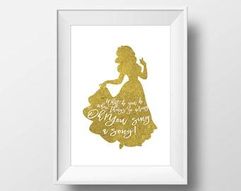 Wall Art Gold Foil Digital Princess Snow White Print,Disney Quote Print,Printable Foil ,Glitter,Nursery Print,Baby Gift,Digital Print