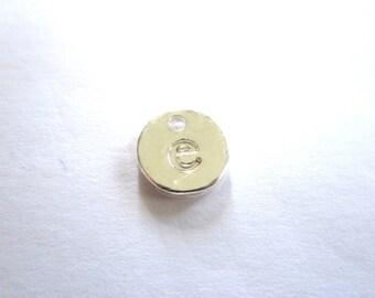 Sequin silver metal letter e