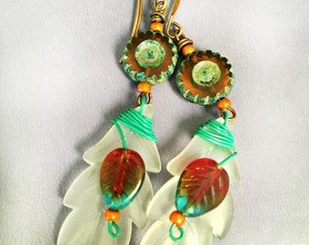 Daisy's On White Leaves  - Wire Wrap, Dangle Earrings