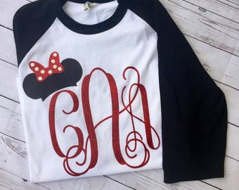 Mouse ears and initial raglan, vacation shirt, Disney Raglan, Minnie ears initial, Initial raglan