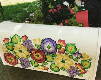 floral painted mailboxes white post decorative mailbox custom mailboxes residential mailboxes hand - Decorative Mailboxes