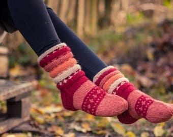 Pink Hand knitted wool socks