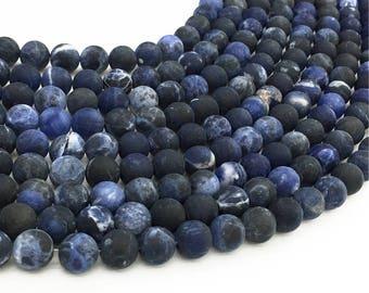 1Full Strand Matte Sodalite Round Beads 6mm 8mm 10mm Wholesale Gemstone For Jewelry Making