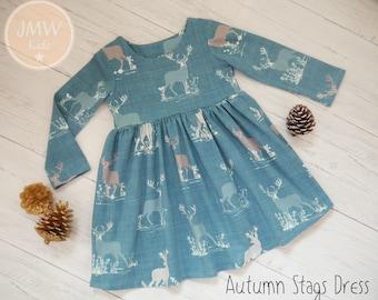 Autumn Stag Dress, girls dress, handmade, dresses,baby dress, baby gift, organic dress,long sleeve dress,jmw kids,deer print, deer dress