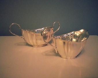 Silver Cream Jug and Sugar Bowl Set