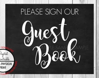 Please Sign our Guest Book Sign, Wedding Sign, Chalkboard Sign, Baby Shower Bridal Shower, Birthday Sign, Instant Download, printable